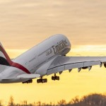PHOTO-Emirates-A380-taking-off-sunset